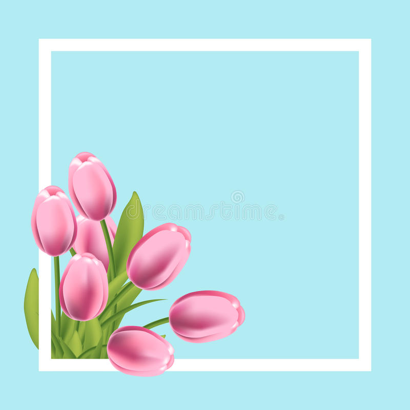 Realistic tulips flower frame. Blank template for text, greeting and spring promotion banner. Vector illustration vector illustration