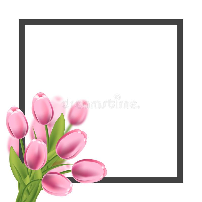 realistic tulips flower frame blank template for text greeting and rh dreamstime com
