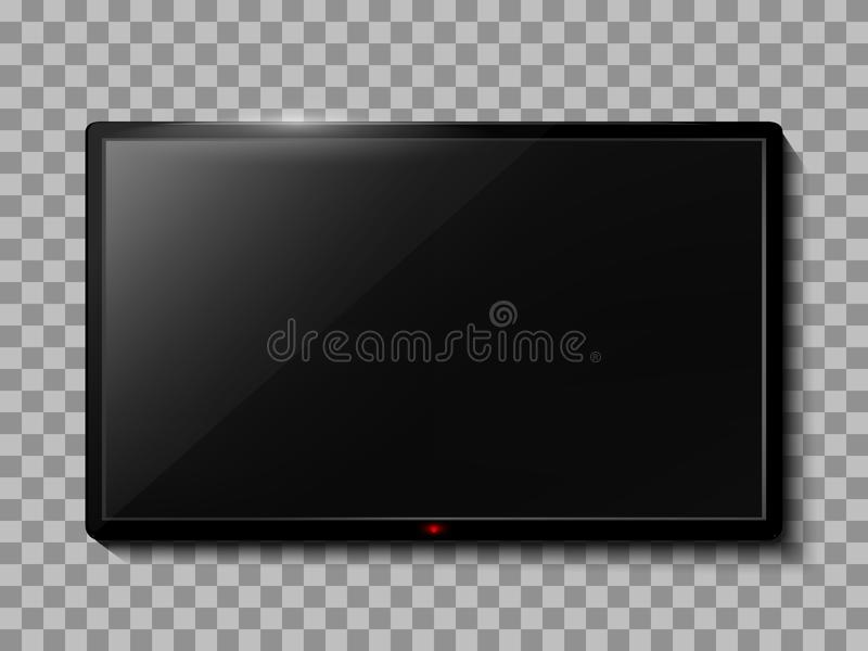 Realistic TV screen. Empty TV frame transparent background. Modern stylish lcd monitor, led type. Blank television template vector illustration