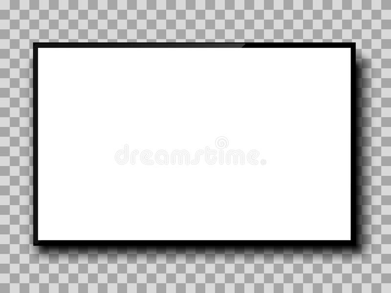 Realistic TV screen. Empty TV frame transparent background. Modern stylish lcd monitor, led type. Blank white television template vector illustration