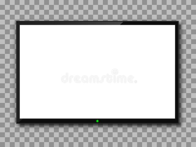 Realistic TV screen. Empty TV frame transparent background. Modern stylish lcd monitor, led type. Blank white television template stock illustration