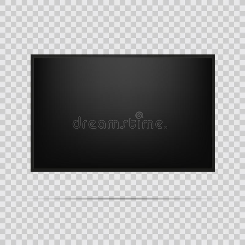 Realistic TV screen. Modern stylish lcd panel, led type. Large computer monitor display mockup. Blank television template. Graphic royalty free illustration