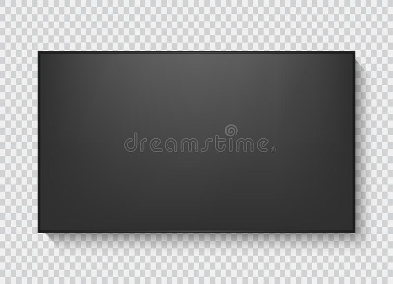 Realistic TV screen. Modern stylish lcd panel, led type. Large computer monitor display mockup. Blank television template. royalty free illustration