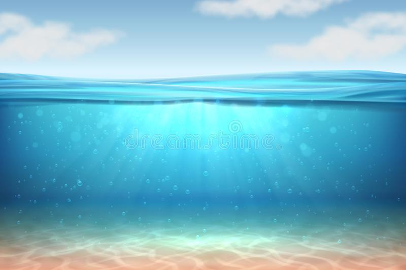 Realistic underwater background. Ocean deep water, sea under water level, sun rays blue wave horizon. Surface 3D vector. Realistic underwater background. Ocean stock illustration