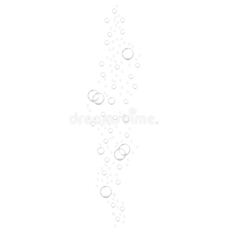 Realistic underwater fizzing air bubbles isolated on white background. Sparkling water, air bubbles stock illustration