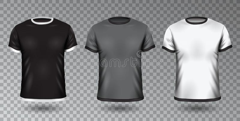 Realistic Unisex Shirt Design Tempale on Transparent Background, Vector Blank Black, Gray and White T-shirt Mock-Up vector illustration