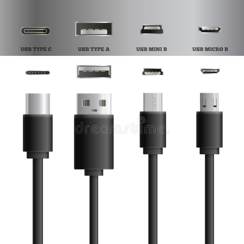 USB Cable Socket Set. Realistic usb cable connectors types set of images with modern types of usb plugs and sockets vector illustration royalty free illustration