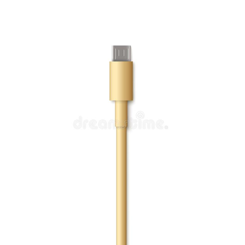 Realistic USB cable cord - micro B type connector end. royalty free illustration