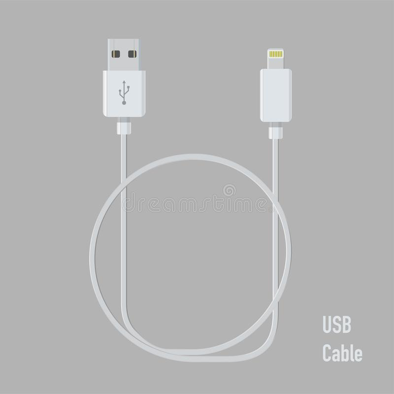 Realistic usb cable for device connection vector. Illustration royalty free illustration