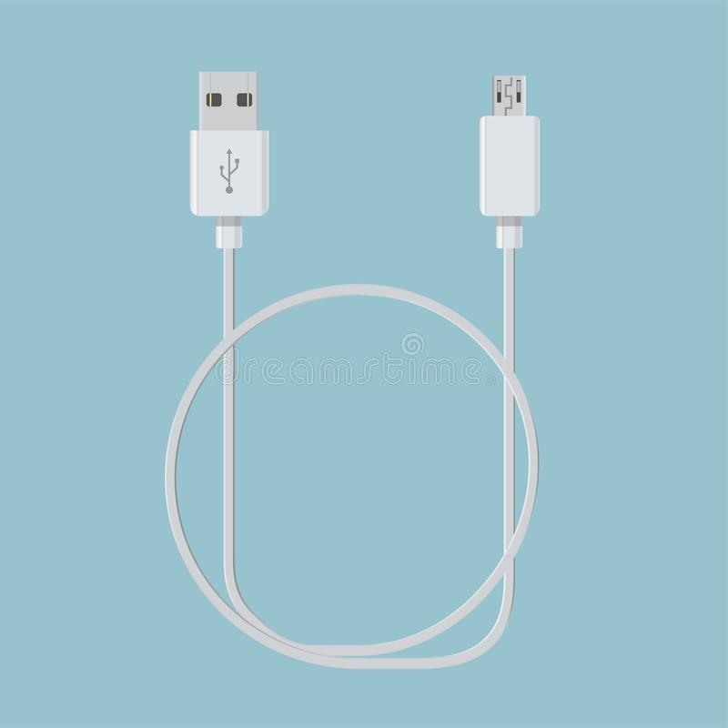 Realistic usb cable for device connection vector royalty free illustration