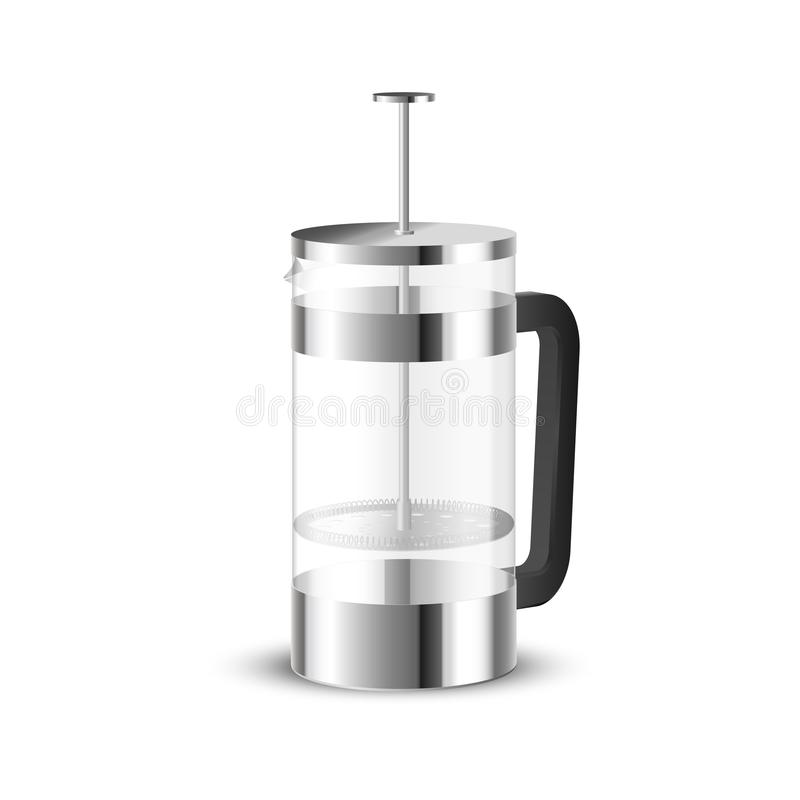 Realistic vector of beautiful steel and glass french press coffee maker.  stock illustration
