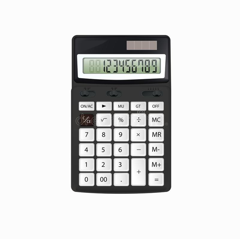 Realistic vector black calculator with white buttons isolated on white background. royalty free stock photos