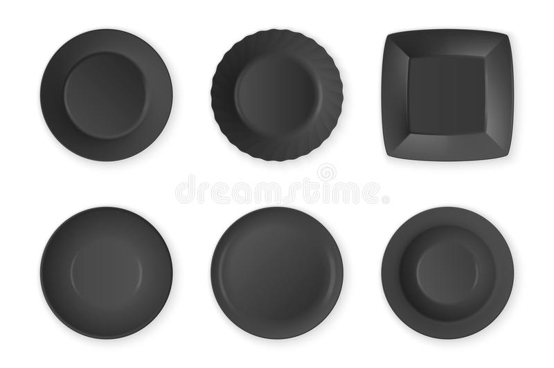 Realistic vector black food empty plate icon set closeup isolated on white background. Kitchen appliances utensils for vector illustration
