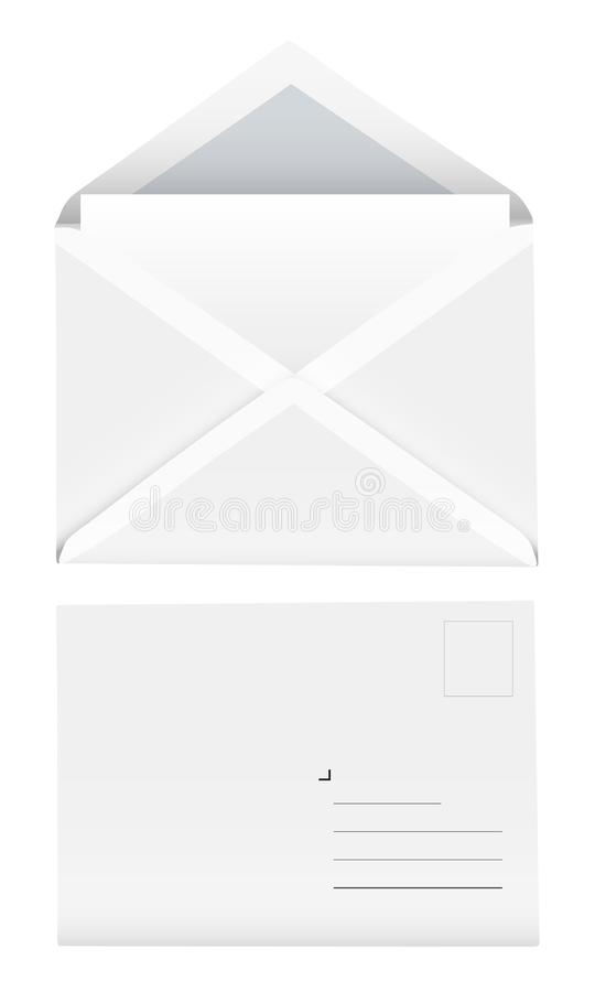 Realistic vector blank envelope set isolated on white background vector illustration