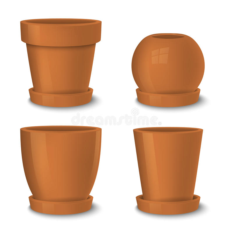 Realistic Vector Brown Empty Flower Pot With Plate Set. Closeup ...