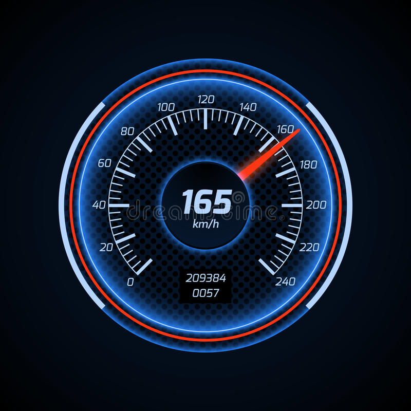 Realistic vector car speedometer interface. Dashboard panel for transport automobile illustration stock illustration
