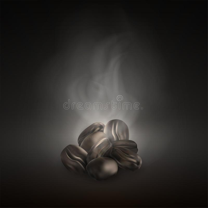 Realistic vector coffee beans. Roasted dark black coffee beans on pile with smoke. Close up. royalty free illustration