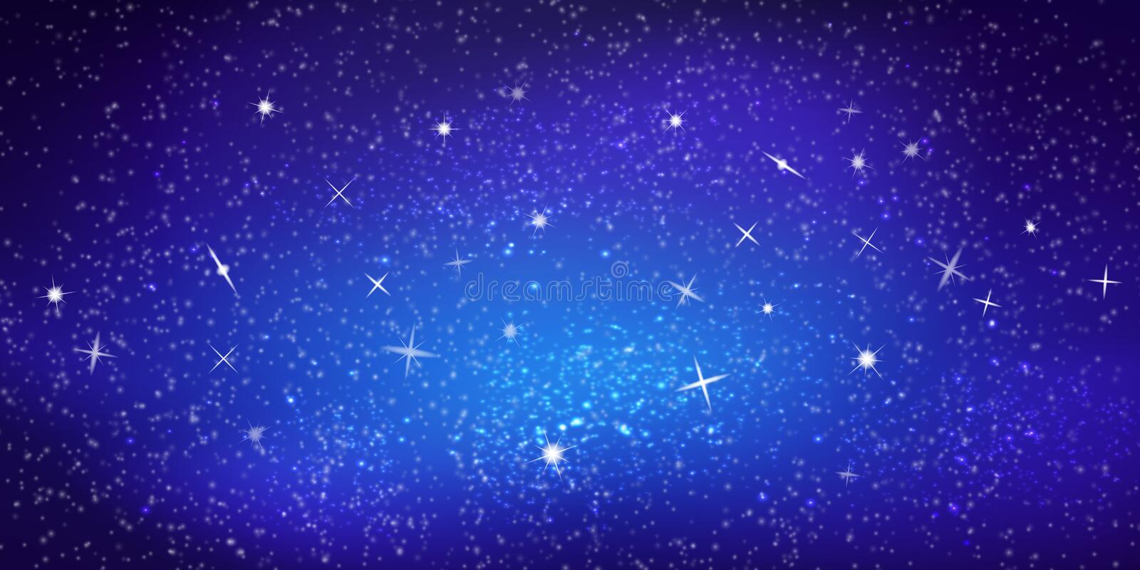 Realistic vector colorful Illustration. Bright cosmic space background with stars and constellations. Interstellar space royalty free illustration