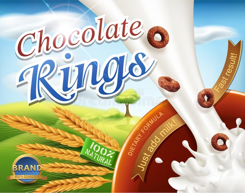 Realistic,vector 3d illustration with a milk splash and chocolate rings pouring into the bowl .Element for modern design stock illustration