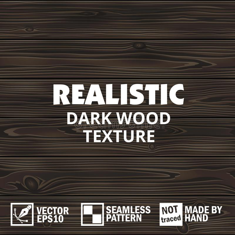 Realistic vector dark wooden texture. Editable seamless background royalty free illustration