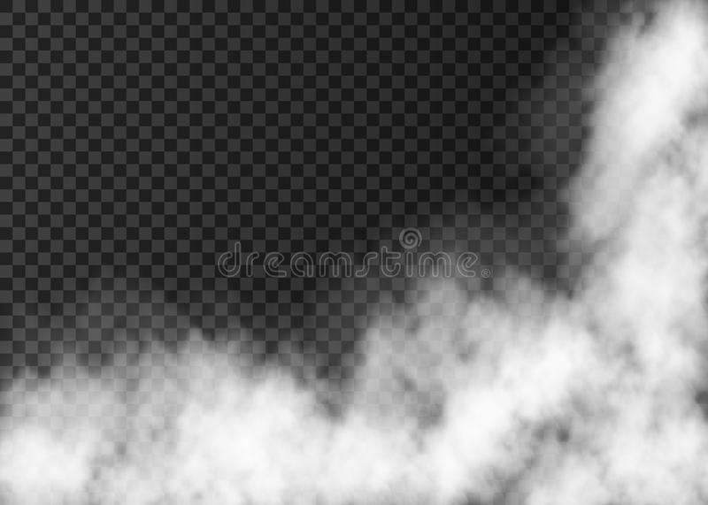 Realistic vector fire smoke or mist texture. Fire smoke or mist texture. White realistic vector fog on transparent background. Steam special effect royalty free illustration