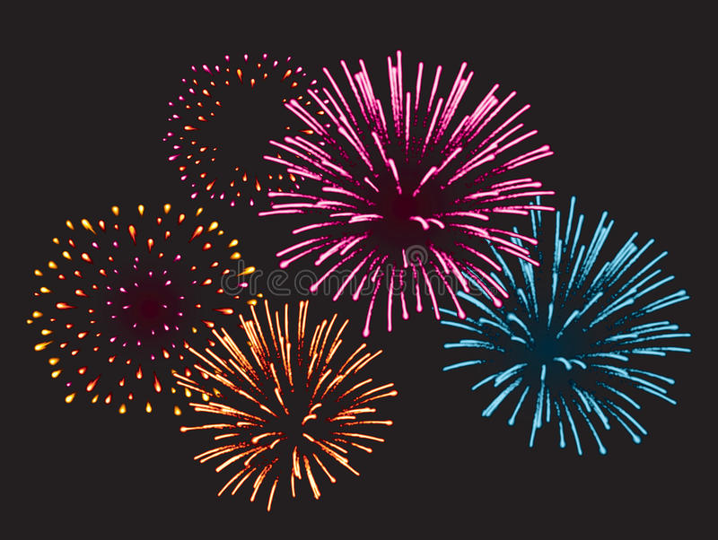 Realistic Vector fireworks. Fireworks exploding in the night sky stock illustration