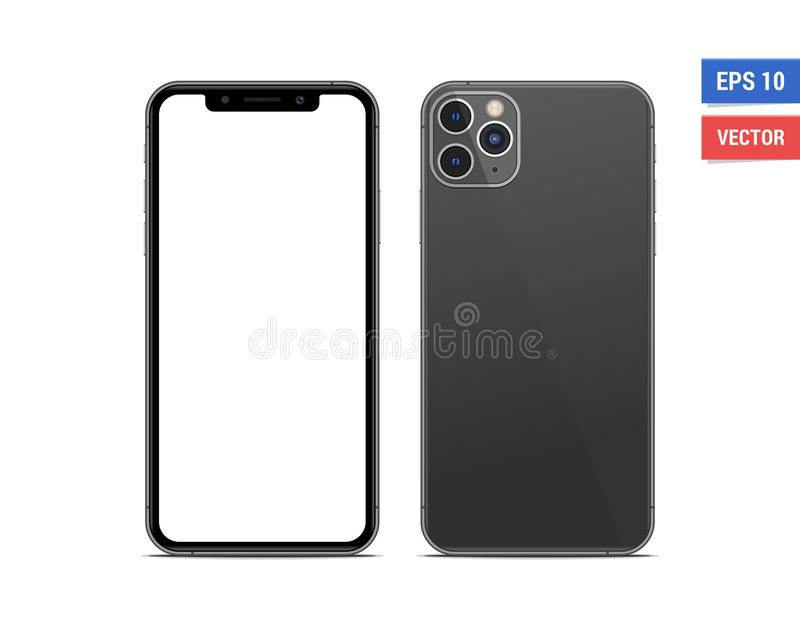 Realistic vector flat mock-up Apple iPhone 11 Pro Max with blank screen isolated on white background. Scale image any resolution stock image