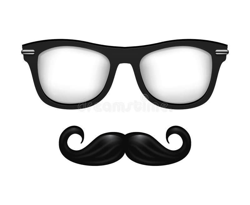 Realistic Vector Glasses And Mustache In Black White Stock Vector