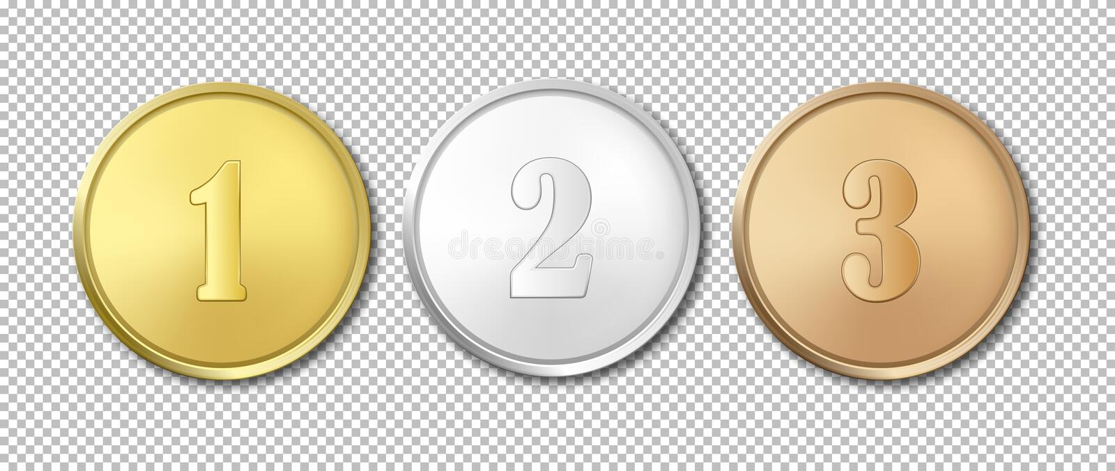 Realistic vector gold, silver and bronze award medals icon set isolated on transparent background. Design templates. The stock illustration