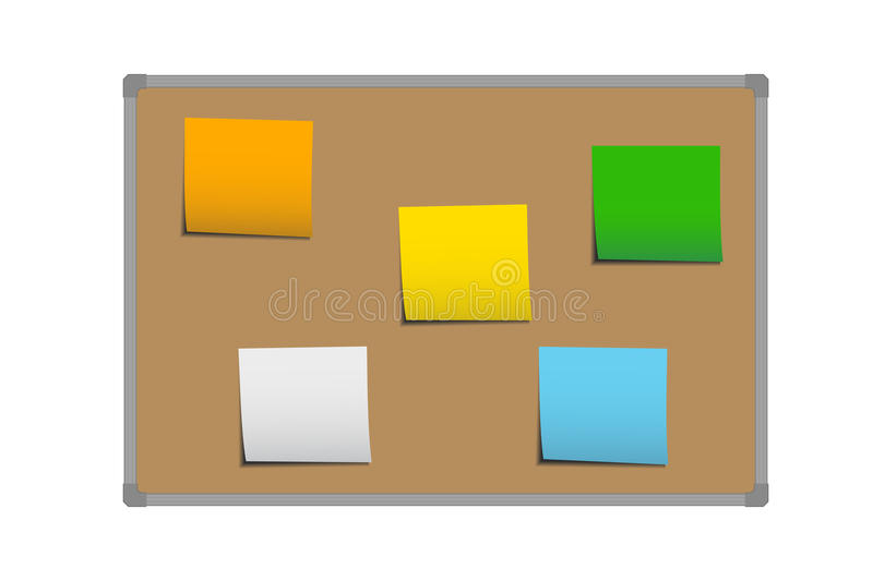 Realistic vector illustration of brown cork board with frame and stickers for memorization, notes and messages. On white background stock illustration
