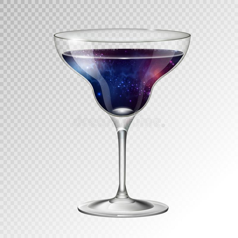 Realistic vector illustration of cocktail margarita glass with space background inside. Realistic cocktail margarita glass with space background inside stock illustration