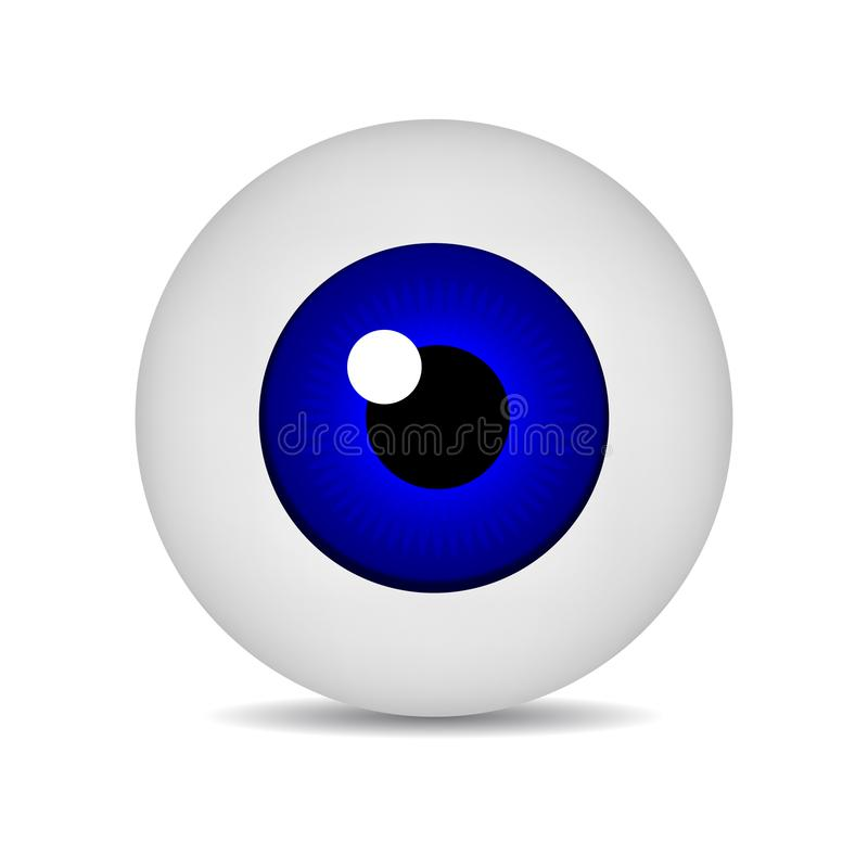 Realistic vector illustration icon 3d round image blue eyeball. Blue Eye isolated on white background. Vector Illustration. Realistic vector illustration icon vector illustration