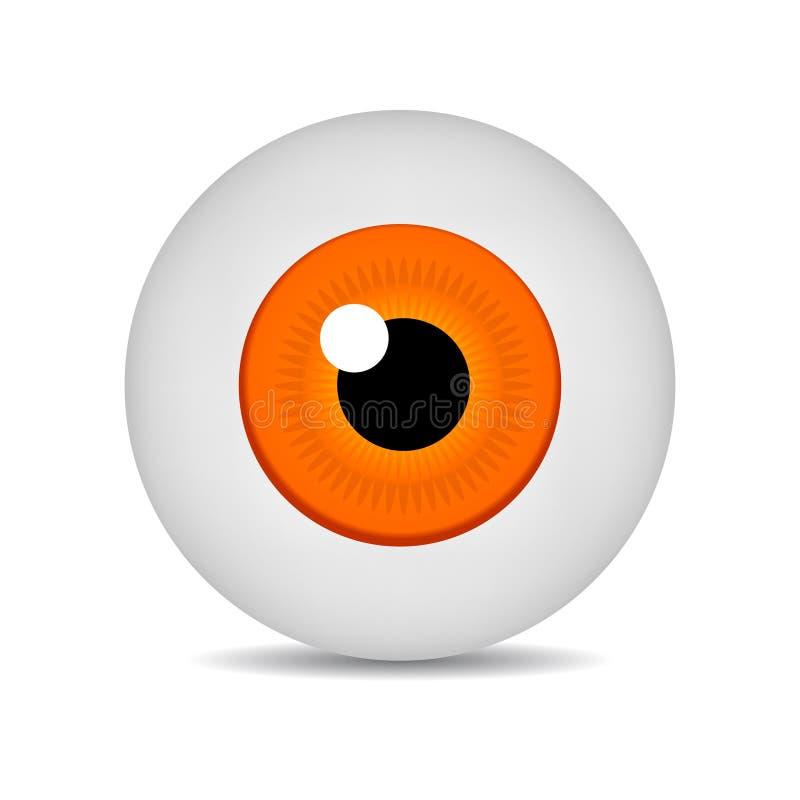Realistic vector illustration icon 3d round image orange eyeball. Orange Eye isolated on white background. Vector Illustration. Realistic vector illustration stock illustration