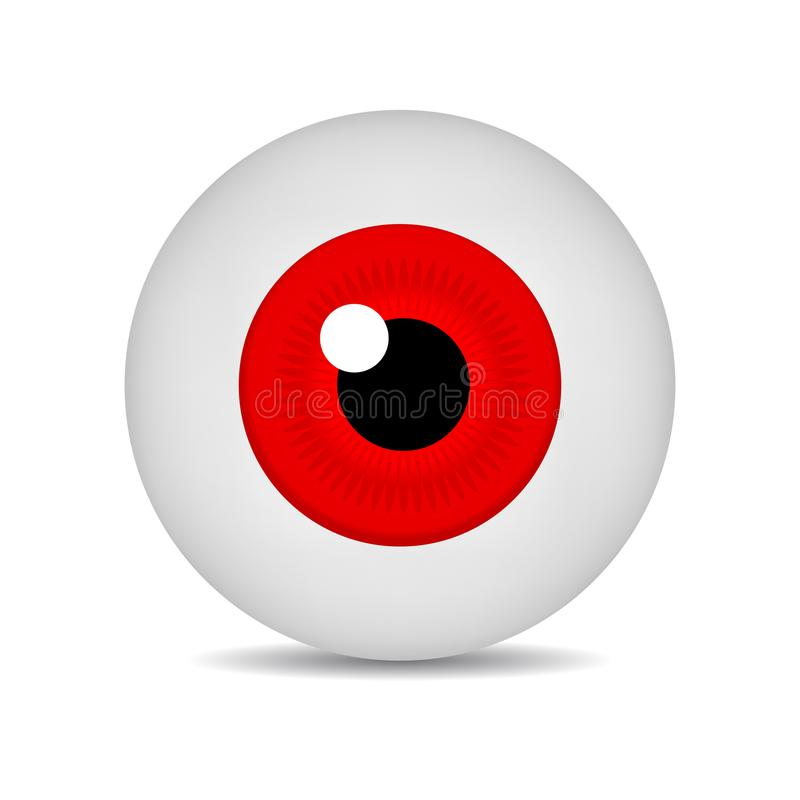 Realistic vector illustration icon 3d round image red eyeball. Red Eye isolated on white background. Vector Illustration. Realistic vector illustration icon 3d stock illustration