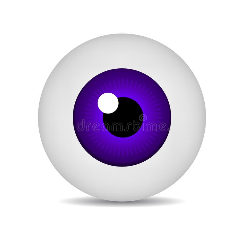Realistic vector illustration icon 3d round image violet eyeball. Violet Eye isolated on white background. Vector Illustration. Realistic vector illustration stock illustration