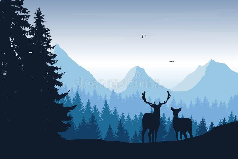 Realistic vector illustration of mountain landscape with deer. Realistic vector illustration of mountain landscape with forest, deer and eagle stock illustration