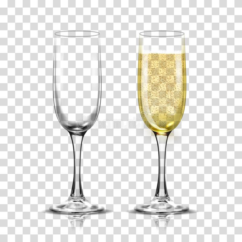 Realistic vector illustration set of transparent champagne glasses with sparkling white wine and empty glass. vector illustration