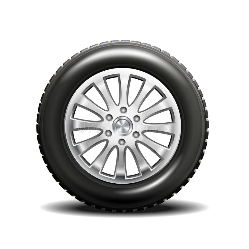 Single car tire. Realistic vector illustration of a single car tire on a white background stock illustration