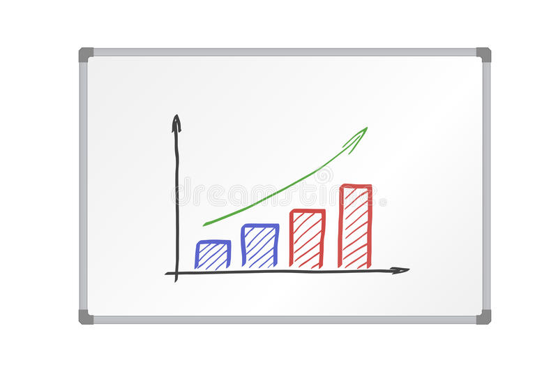 Realistic vector illustration whiteboard with aluminum frame and drawing colorful growing graph, isolated vector illustration