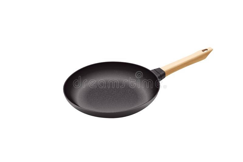 Realistic vector iron pan. Cast-iron pan with wooden handle. royalty free stock photography