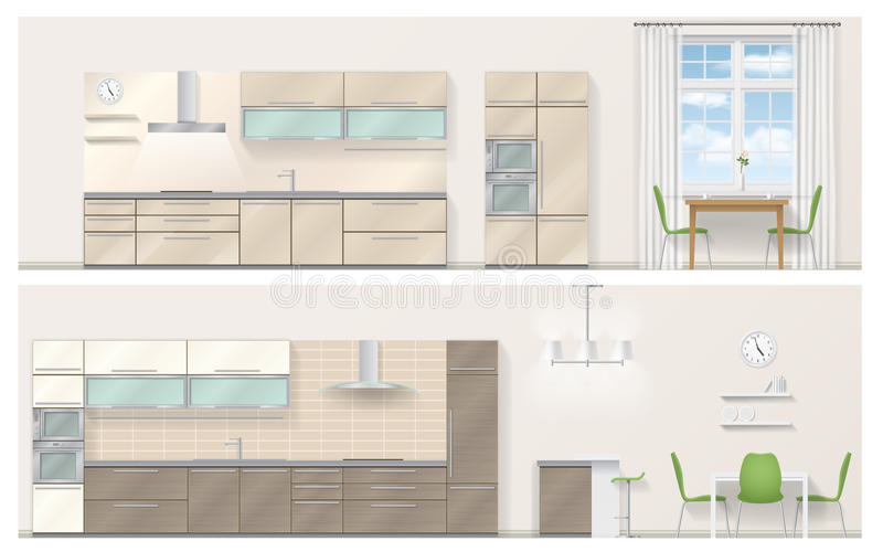 Realistic vector kitchen royalty free illustration