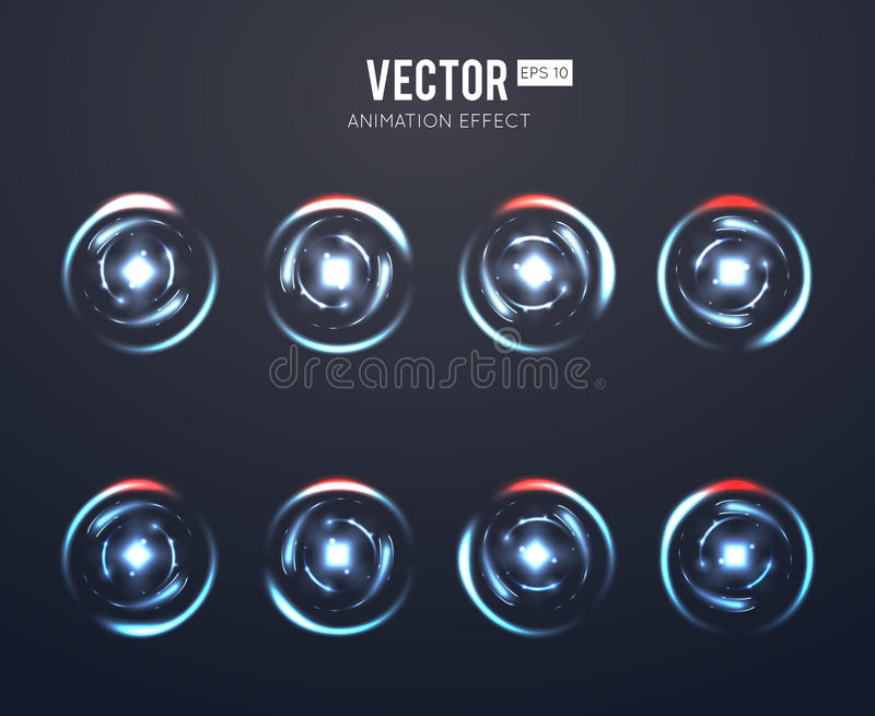 Realistic vector light effect rotating animation set for spinning loader or game load stock illustration