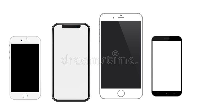 Realistic Vector Mobile Phones Mockup Iphone & android. Realistic Vector Mobile Phones Mockup- An illustration of Realistic Vector Mobile Phones Mockup stock illustration