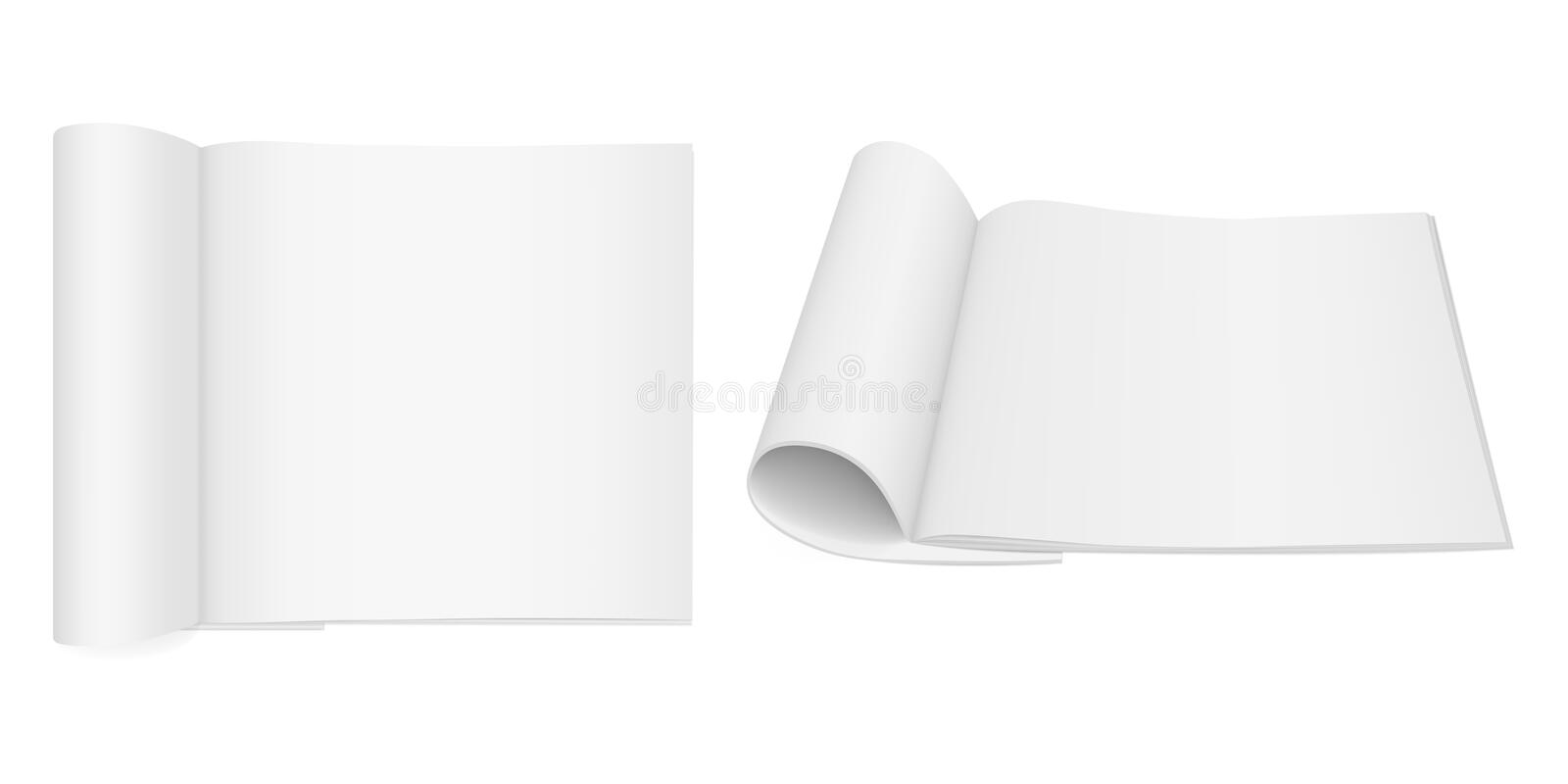 Realistic vector mock-up of an open booklet magazine, brochure, notebook with folded pages stock illustration