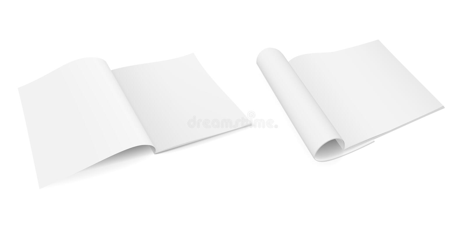 Realistic vector mock-up of an open booklet magazine, brochure, notebook stock image