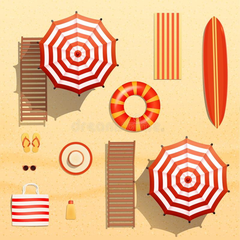 Realistic vector objects illustration, sun umbrellas, surfboard, towel, lounger, swim ring, sunglasses and other beach stuff vector illustration