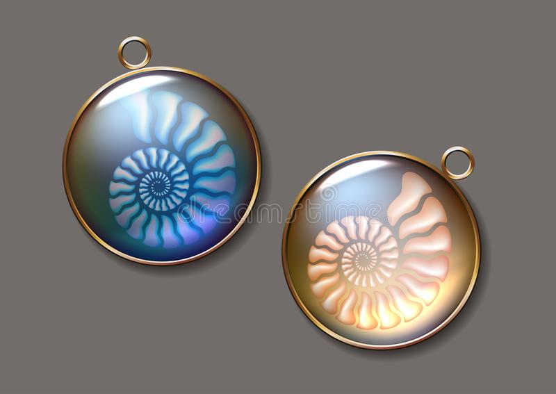 Realistic vector picture two lockets with fossil Ammonites N. pearly, pure and airy Jewel. stock illustration