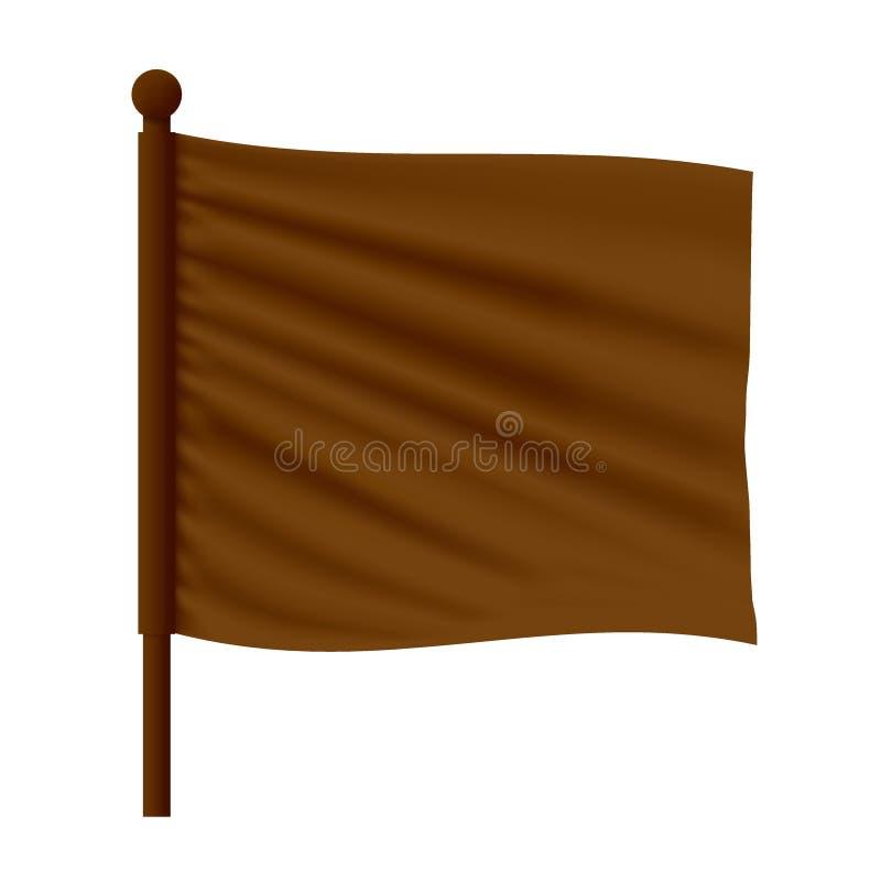 Wavy Flag Mockup. Realistic Vector Red Wavy Flag Mockup vector illustration