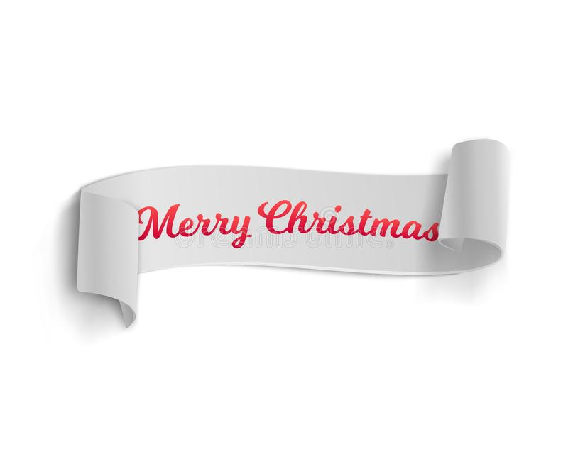 Realistic Vector Ribbon Banner Icon. Illustration of Marry Christmas Vector Banner Template Isolated on White Background. Realistic Vector Ribbon Banner Icon royalty free illustration