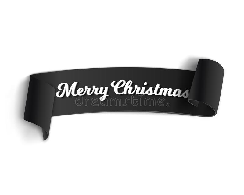 Realistic Vector Ribbon Banner Icon. Illustration of Marry Christmas Vector Banner Template on White Background. Realistic Vector Ribbon Banner Icon. Winter vector illustration